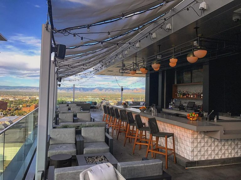 A rooftop bar on the front range in Colorado