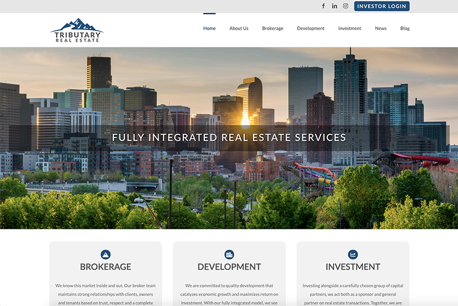 SideCar client, Tributary Real Estate | website design