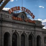 A photo of the neon sign on top of Union Station in LoDo Denver
