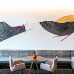 A phogo of an art installation in a restaurant