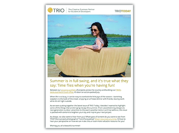 A TRIO email design and distribution example