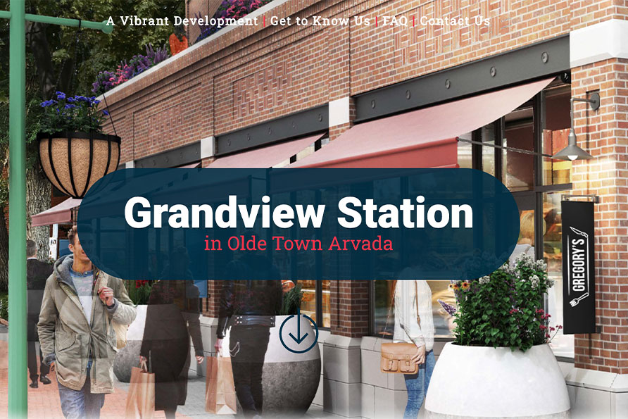 Grandview Station Arvada, a splashpage website design by SideCar PR in Denver