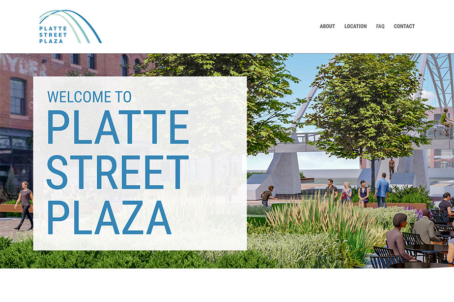 Platte Street Plaza, a splash page website design by SideCar PR