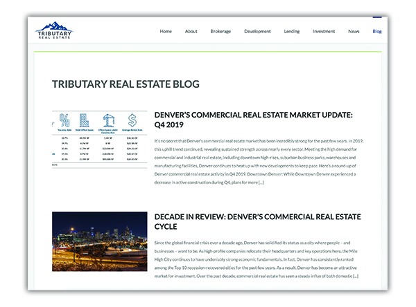 A screen capture of the Tributary Real Estate blog page