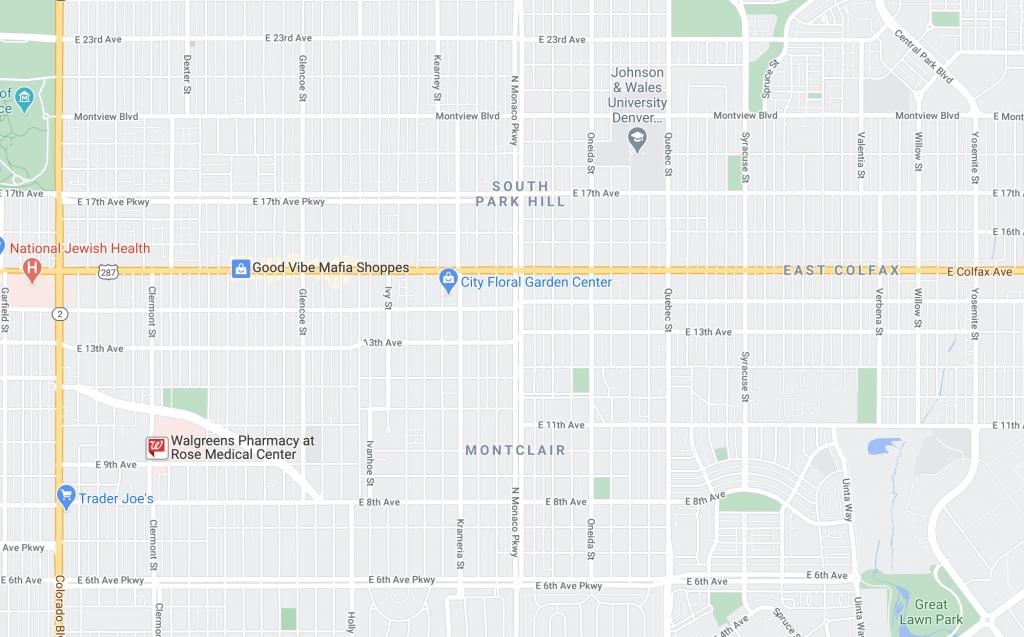 an aerial map of Denver