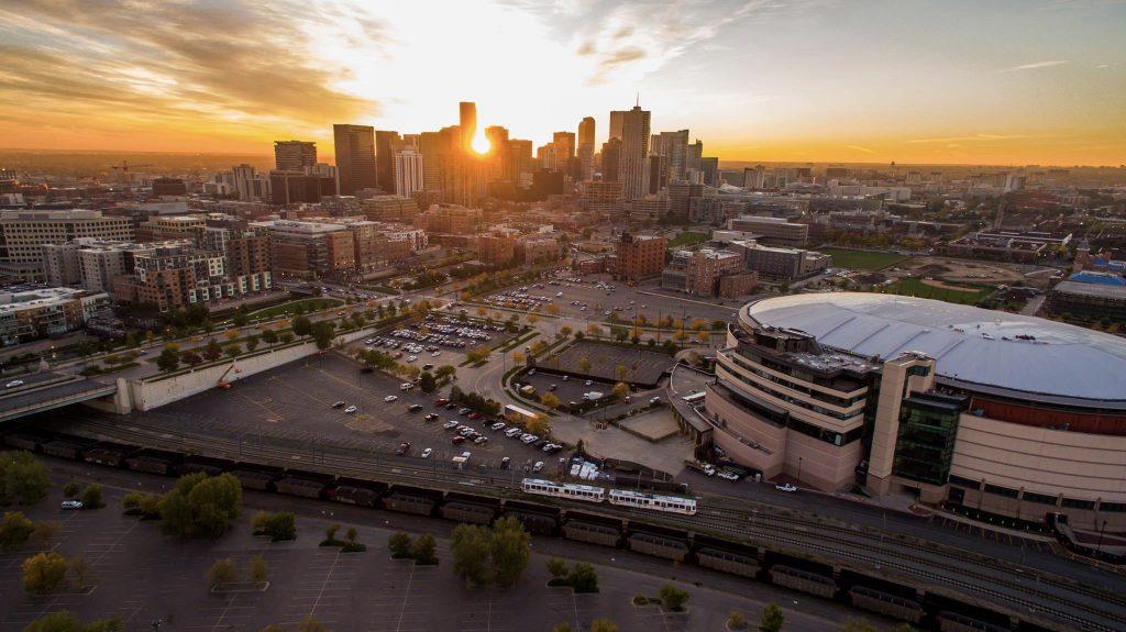 a drone photo of Denver